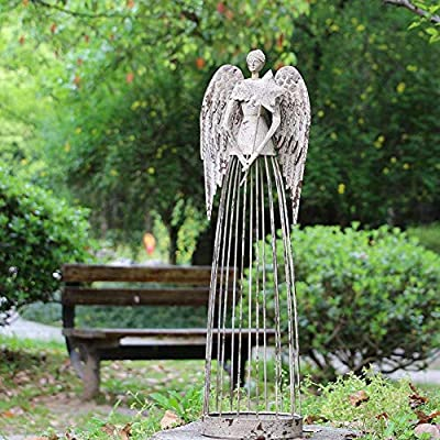 Antiqued Metal Garden Angel Statue with Star Wand, Indoor Outdoor Angel Yard Art Decor Lawn Patio Decorations Holiday Decor Garden Present Idea, 26