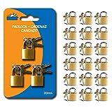 18 Small Metal Padlock Mini Brass Tiny Box Travel Locks Keyed Jewelry 2 Key 20mm U.S Top Seller!