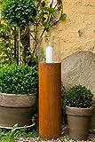 KUHEIGA Windlicht aus Edelrost mit Glasaufsatz H: 80cm