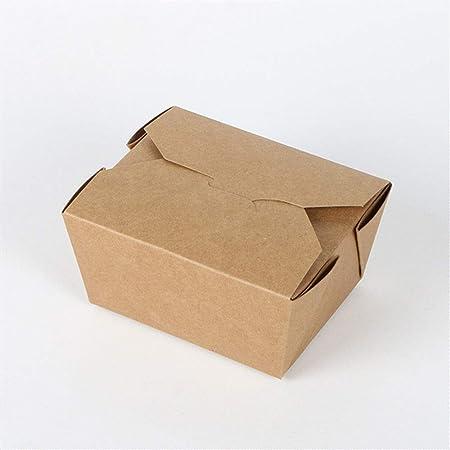jieer Fiambrera De Papel Desechable Fiambrera del Paquete Rectangular De La Caja De Papel De Kraft, 800Ml100 Solamente: Amazon.es: Hogar