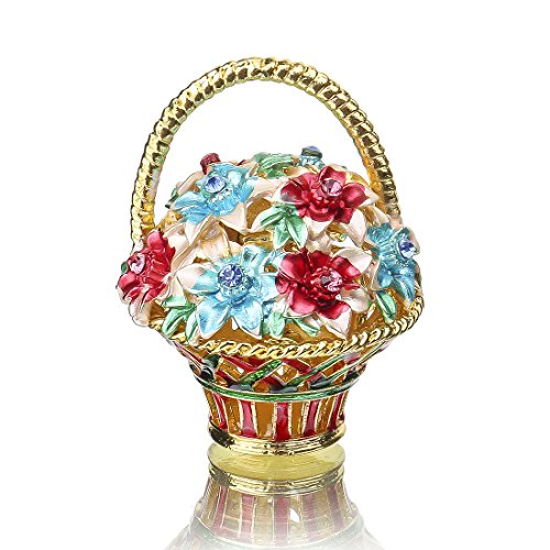 YUFENG Trinket Box Hinged ornament Crystals Hand-painted Patterns Jewelry Trinket Box Collectible Figurines for Women or Girl