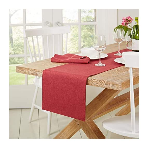 """Town & Country Living Somers Table Runner 15""""x72"""" Rectangle, Stain Resistant Machine Washable Polyester, Solid Red -  - table-runners, kitchen-dining-room-table-linens, kitchen-dining-room - 51Zw5xDz2wL. SS570  -"""