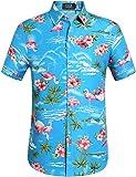 SSLR Men's Flowers Flamingos Casual Aloha Hawaiian Shirt (Large, Blue)