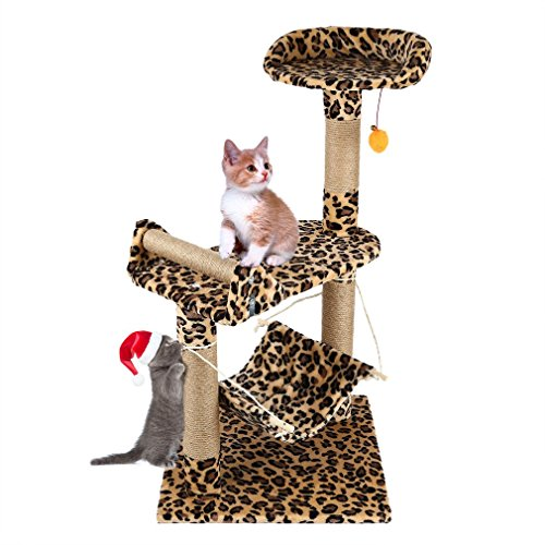 Cat Tree Cat Kitten Scratching Post Tree with Rope and Hammock Scratches Bed Tree Climbing Toy Activity Center Pets Play Tower House Home Decorative Fuiniture (Leopard Print) (Condo Cat Print Leopard)