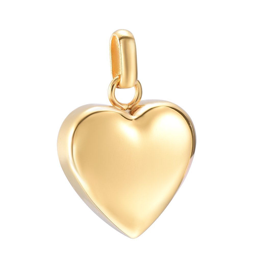 constantlife High Polish Engravable Blank Love Heart Pendant Stainless Steel Ashes Keepsake Urn Necklace for Ashes Cremation Jewelry (Gold)