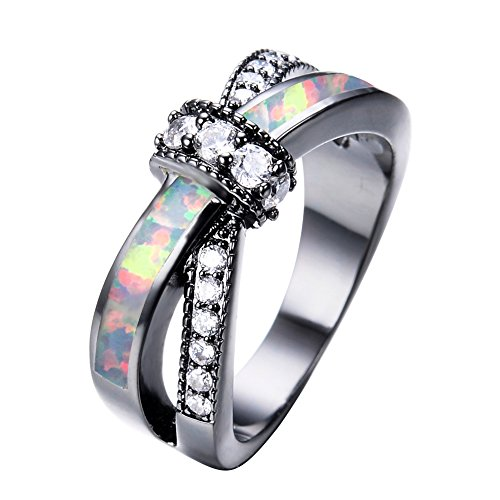 Adeser Jewelry Womens Lab White Opal Black Gold Plated Ring 10 KT Promise Wedding Womens Rings Size 6-10