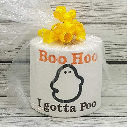Boo Hoo I Gotta Poo Halloween embroidered novelty toilet paper, holiday bathroom -