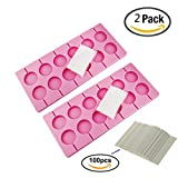 Carlie 2Pcs/Pack 12-Capacity Round Chocolate Hard Candy Silicone Lollypop Mold With 100Pcs/Pack 4 Inch Sucker Sticks