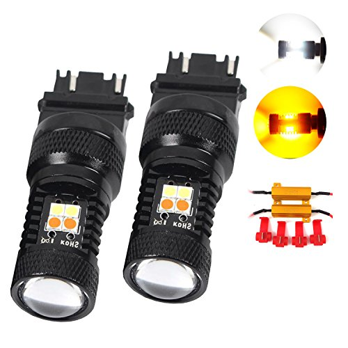 Huizen Super Bright LED SwitchBack Light Bulb 3157 (3156/3047/3057/4057/4114) w/ Load Resistors - White/Amber(Yellow) Replacement for Turn Signal and DRL (Daytime Running Light) (2 Pack)