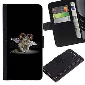 Billetera de Cuero Caso Titular de la tarjeta Carcasa Funda para Sony Xperia Z1 Compact D5503 / Rodent Bat Horns Fictional Creature Biotechnology / STRONG