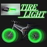 自転車 タイヤ ライト 緑 2個組1セット