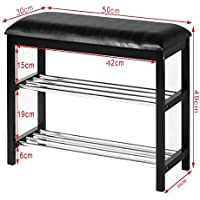 Orolay Hallway Shoe Rack Organizer with Upholstered Seat ZHXD19 L50cm Black