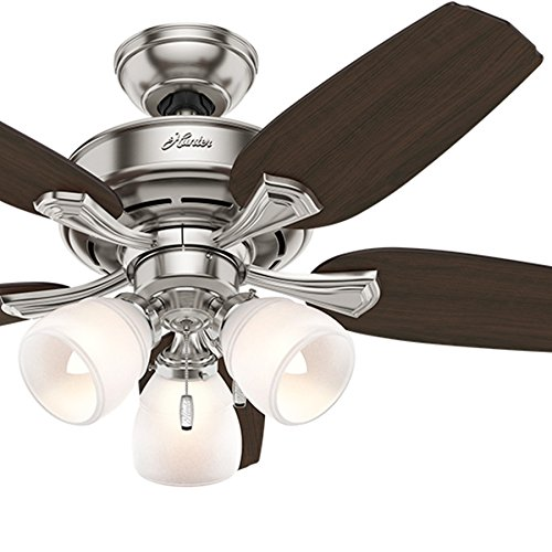 Hunter Fan 44 inch Ceiling Fan in Brushed Nickel with 3-Light Painted Cased White Glass Kit, 5 Blade Renewed