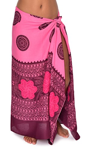 Mumbai Hawaii Sarong Pareo BeachWrap Swimsuit Coverup Pink/ Fuchsia/ Burgundy