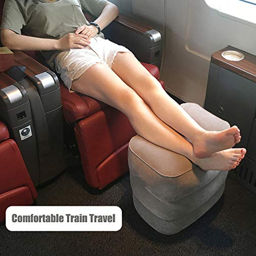 Tekcast Travel Foot Rest Pillow Height-Adjustable Inflatable Travel Leg Rest Pillow On Airplanes, Cars, Buses, Trains, Office. Great Airplane Travel Bed for Kids to Sleep on Long Flights (Grey) by Tekcast (Image #3)