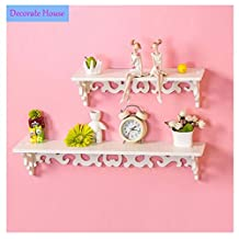 """White Wood Pierced Shelves Home wall mounted Storage Holder Cut Out Design Wall Shelf 18.11"""" X 3.54"""""""
