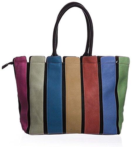 Big Handbag Shop Damen Schultertasche aus Kunststoff mit mehrfarbigen langen Riemen (D894 TanDark)