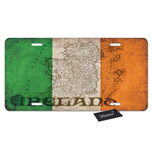 WONDERTIFY License Plate Ireland Vintage Flag Irish Emblem Decorative Car Front License Plate,Vanity Tag,Metal Car Plate,Aluminum Novelty License Plate for Men/Women/Boy/Girls Car,6 X 12 -