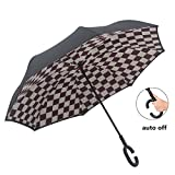 SIKAINI Inverted Umbrella Automatic Double-Layer Windproof,Travel Reverse Umbrellas UV Proof Folding for Women/Men.(Coffee Cube)