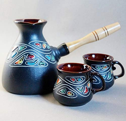 (Turkish coffee pot cups set, Handmade hand-painted pottery coffee maker & 2 cups, New home family gift, Unique gifts mom)
