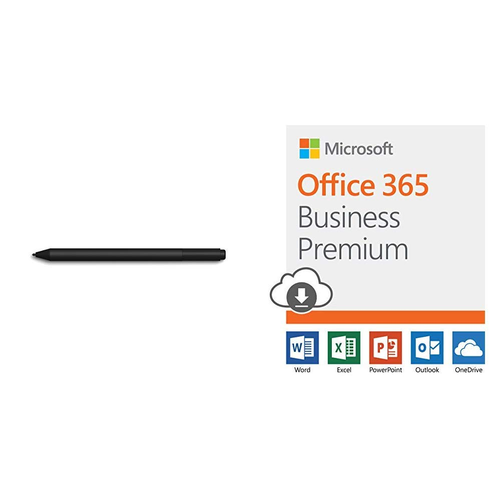 Microsoft Surface Pen, Charcoal Black, Model: 1776 (EYV-00001) with Office 365 Business Premium | 12-month subscription, 1 person, PC/Mac Download