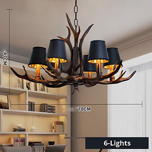 - OAKLIGHTING Modern Black Antler Chandelier Lights Dining Room Bedroom Art Deco Ceiling Pendant Lighting-6 Lights