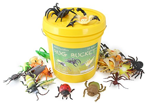 WellPackBox Giant 23 Bug Bucket Detailed Large Size Insect Toy Figures For Kids Boys Girls Toddlers In Durable Bucket (Yellow (Giant Bug)