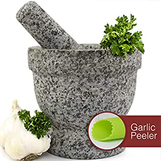 Mortar and Pestle Set - Unpolished Granite Bowl with Bonus Garlic Peeler | Great for Guacamole! | 1.5 Cup Capacity. Protective Pad for Stability and Protected Counters