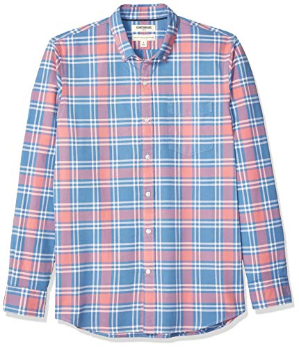 (Goodthreads Men's Standard-Fit Long-Sleeve Plaid Oxford Shirt, Pink Denim Plaid, XX-Large Tall)