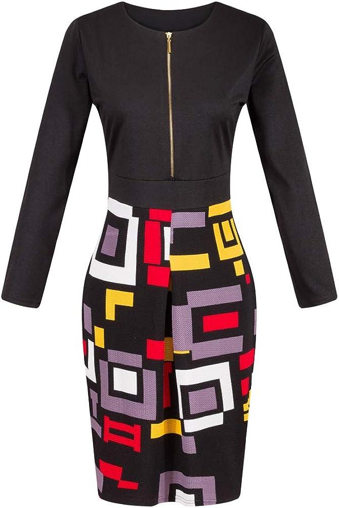 Fashionbeautybuy Brand Women Summer Bodycon Mid-Sleeve Sheath Dress Vintage Zipping V-Neck Pleated Knee Length Dresses