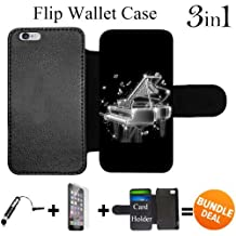 Flip Wallet Case for iPhone 6/6S (Black White Piano) with Adjustable Stand and 3 Card Holders   Shock Protection   Lightweight   Includes HD Tempered Glass and Stylus Pen by Innosub