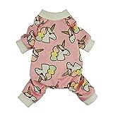 Fitwarm Unicorn Pet Clothes for Dog Pajamas PJS Cat Apparel Jumpsuits Pink XS
