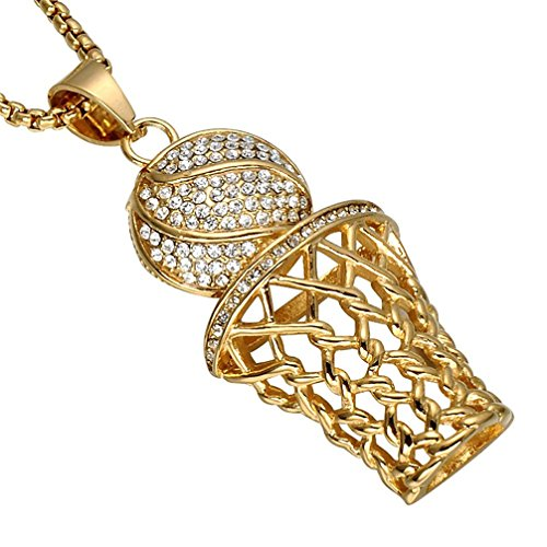 SINLEO Men's Hip Hop Iced Out Diamond Mini Basketball Rim Pendant Charms Stainless Steel Necklace 24 Inch Chain Gold
