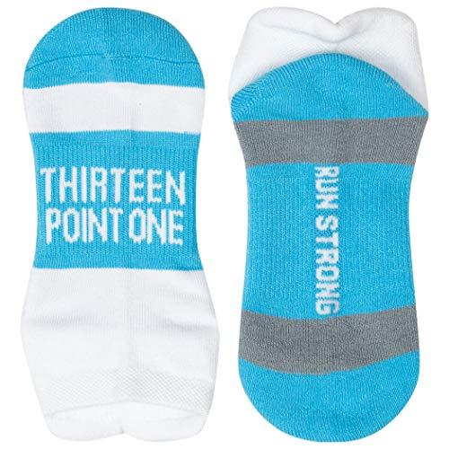Inspirational Athletic Running Socks | Women's Woven Low Cut | 13.1 | Blue