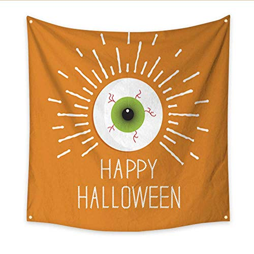 Anniutwo Tapestry Beach Eyeball with Shine Lines Happy Halloween Card Flat Design Style Bedroom Living Room Dorm 32W x 32L -