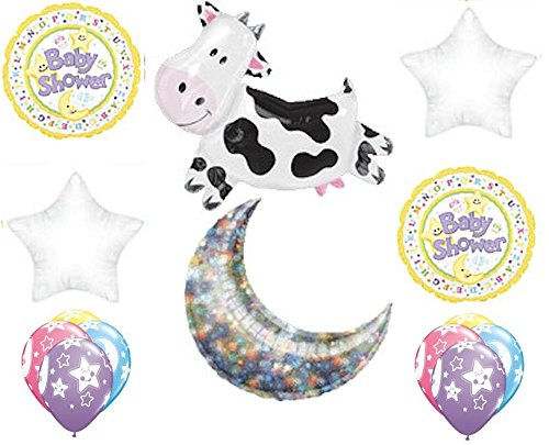 14 pc Cow Jumped Over the Moon Balloon Bouquet Baby Welcome Home Shower Neutral