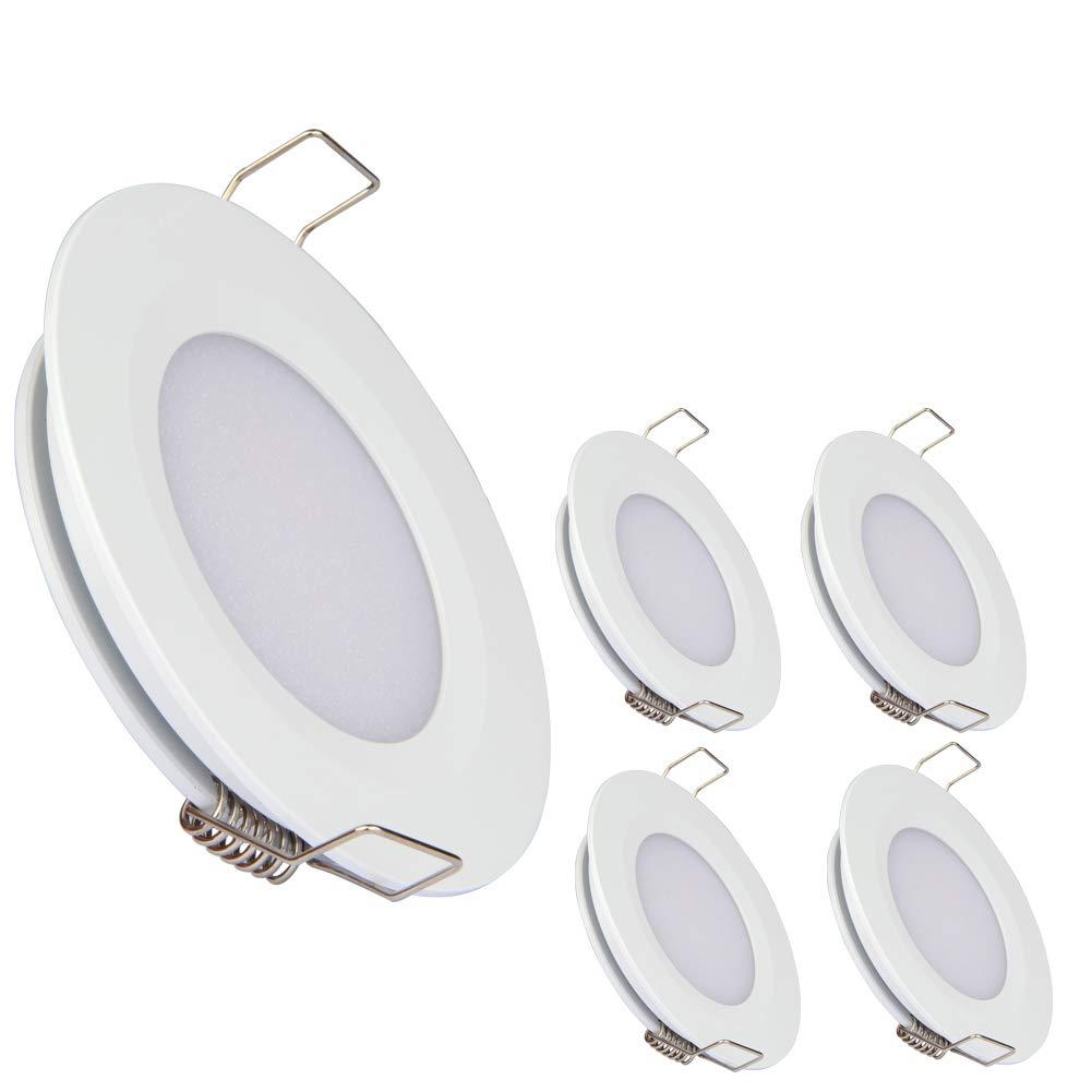 acegoo RV Boat Recessed Ceiling Light 4 Pack Super Slim LED Panel Light DC 12V 3W Full Aluminum Downlights, Warm White (White)