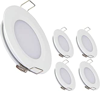 acegoo RV Boat Recessed Ceiling Light 4 Pack Super Slim LED Panel Light DC 12V 3W Full Aluminum Downlights Warm White (White)