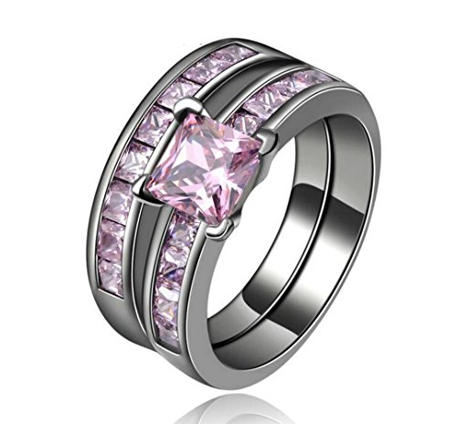 Herinos Pink Square Promise Rings Set Black Gold Stackable Rose Quartz CZ Copper Wedding Band for Women Size 7