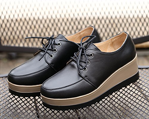 Amint Wedge Walking Toe Black up Comfort Round Shoes Platform Women's Leather Oxford Lace 4rwzqU4g