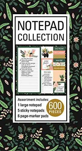 Book of Sticky Notes: Notepad Collection (Floral on Black) (Book Notepad)