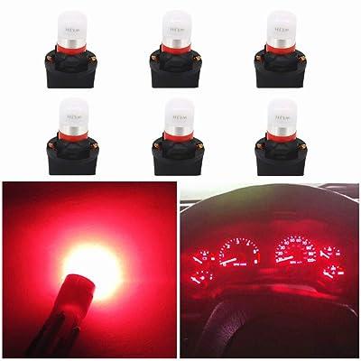 WLJH Red T10 Led Bulb Dash Lights PC194 PC195 PC168 Instrument Cluster Panel Light Dashboard Gauge W5W 194 Bulbs 12V Twist Locks Socket Base, Pack of 6: Automotive