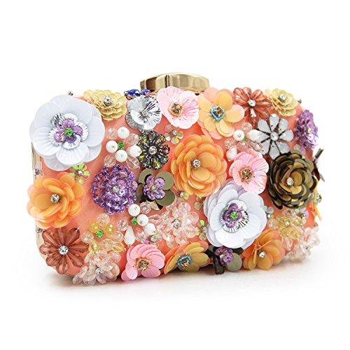 Diamond Fancy Purse (Chichitop Women's Noble Flower Sequins Clutch Evening Bags Wedding Purse (Pink 1))