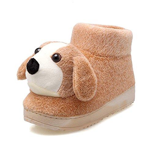 Fankou il delizioso Pacchetto invernale con home il cotone pantofole e spessi, antiscivolo coppie pantofole da camera casa calda scarpe ,41-42, Beige