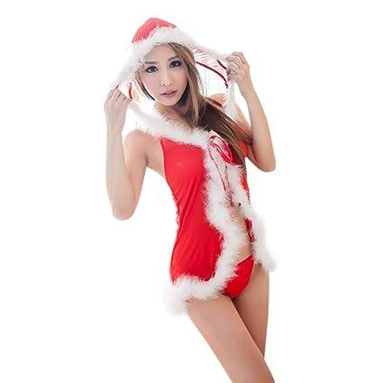 Adornos Navidad, Zantec Moda mujer sexy lencería de Navidad coqueteando pijama vestido transparente Seductive ropa