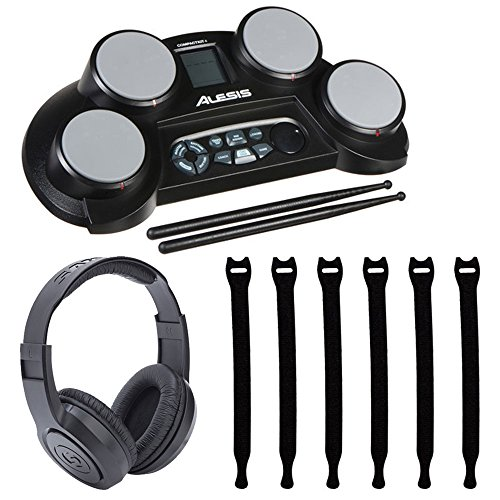 Alesis CompactKit 4 4-Pad Portable Tabletop Electronic Drum Kit with Drumsticks & Built-In Learning Tools + Strapeez Cable Management + Samson SR350 Over-Ear Stereo Headphones – Top Valued ()