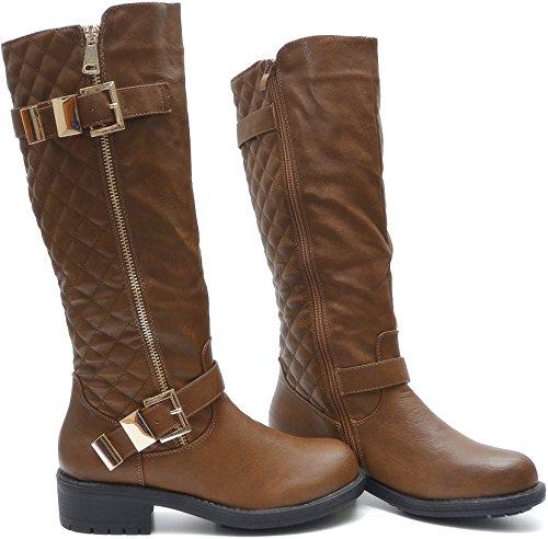 Vain Secrets Salin Damen Winter Stiefel mit Fell Warm Gefüttert Reißverschluss in Schwarz oder Braun Braun