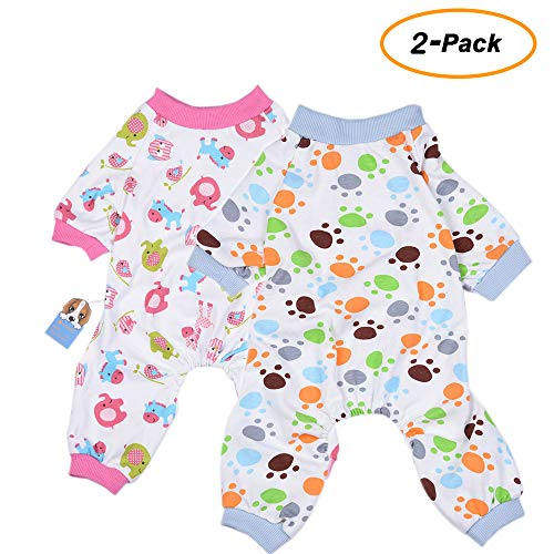 Pajama Pet Puppy Dog - Amakunft 2-Pack Dog Clothes Dogs Cats Onesie Soft Dog Pajamas Cotton Puppy Rompers Pet Jumpsuits Cozy Bodysuits for Small Dogs and Cats