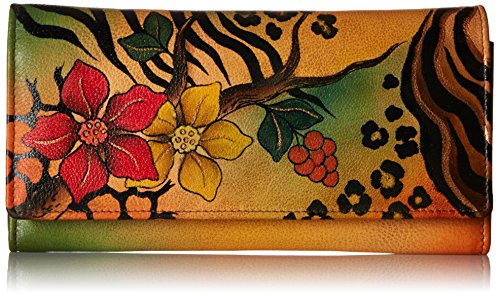 Anna by Anuschka Hand Painted Leather | Multi Pocket Clutch / Wallet | Safari Bloom