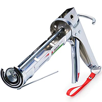 3 in 1 Caulking Gun (HEAVY DUTY CHROME PLATED) Fits Standard Size 10oz Caulk - Refillable 3 in 1 Design Includes Built in Cutter and Puncher Tool - Perfect for Industrial & Home Use!